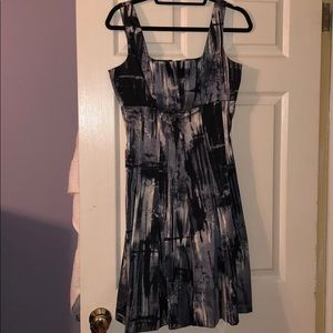 Black, gray and white patterned dress
